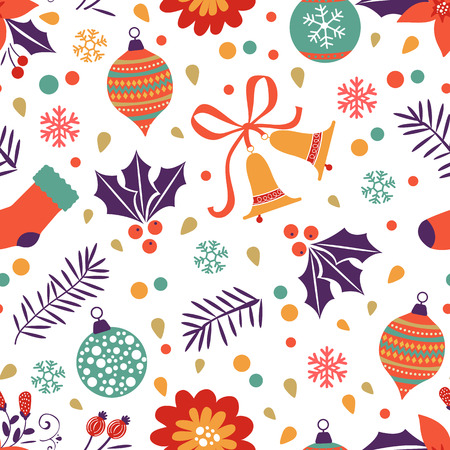 christmas element: Christmas background with balls bells flowers.