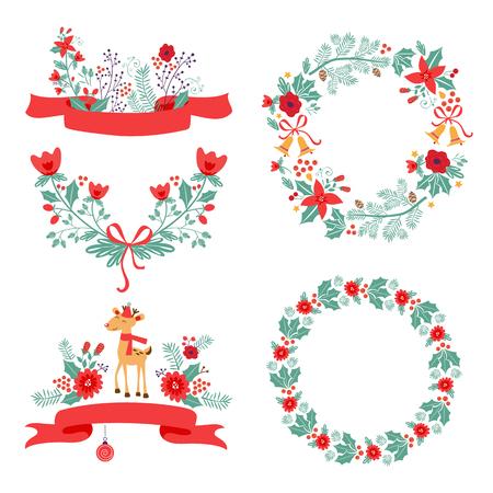 Kleurrijke Kerstmis banners en lauweren met bloemen, vogels, herten, hulst en bladeren. Ideaal voor uitnodigingen en kerstkaarten