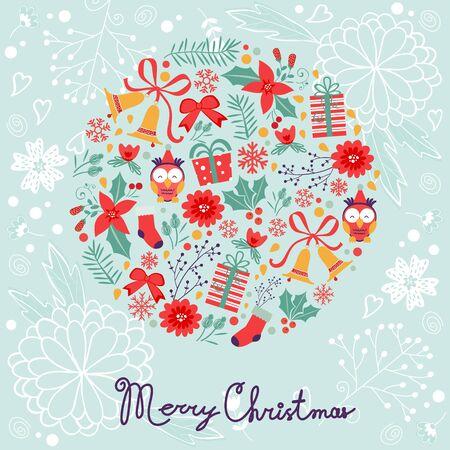navidad elegante: Composición colorida Feliz Navidad con elementos de vacaciones. Vectores