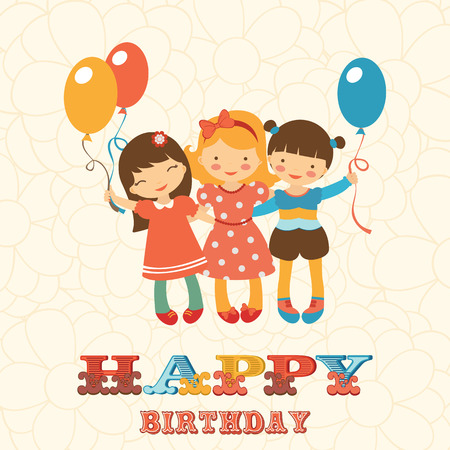child school: Happy birthday card with happy jumping kids. Illustration in vector format