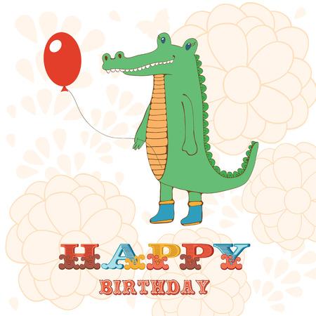 hooray: Stylish Happy birthday card with cute crocodile holding balloon.  Illustration in vector format