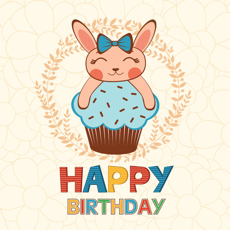 child birthday: Stylish Happy birthday card with cute little rabbitgirl on a cupcake. Illustration in vector format Illustration