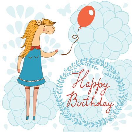 hooray: Adorable Happy birthday card with beautiful horse character holding balloon.  Illustration in vector format