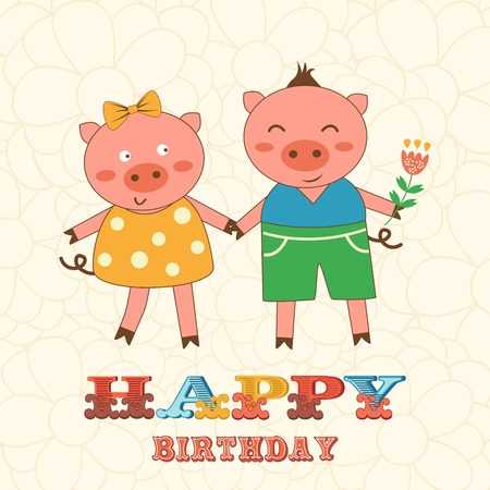 stylish couple: Stylish Happy birthday card with cute pigs couple.  Illustration in vector format