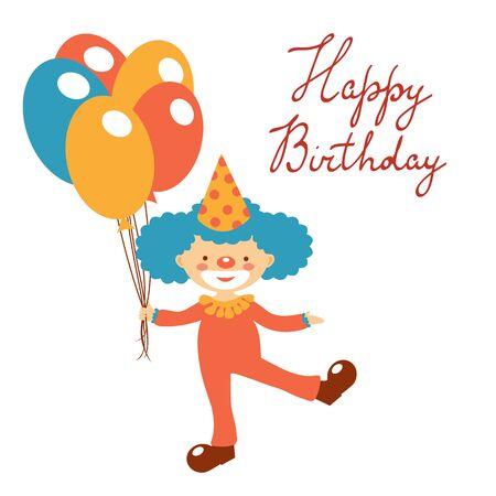 Élégant carte d'anniversaire heureuse avec clowns tenant des ballons mignons. Illustration en format vectoriel