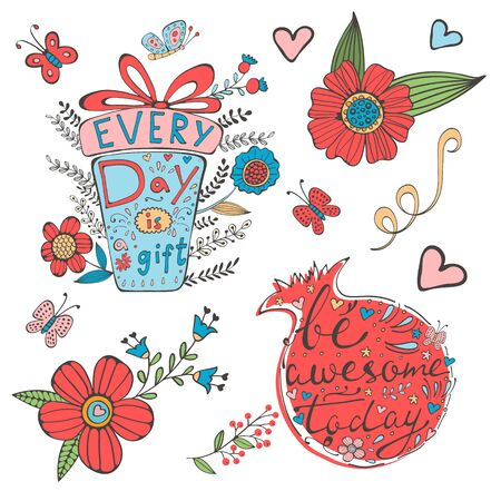 every day: Every day is a gift and Be awesome today. Hand drawn quote lettering set. Illustration in vector format