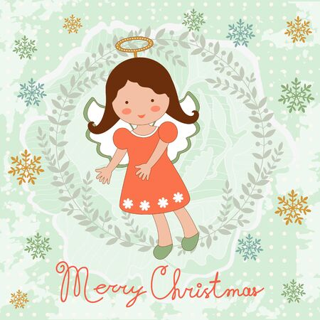 Cute Christmas card with happy angel. Illustration