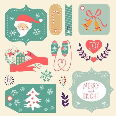 lments graphiques: Gift tags and Christmas graphic elements collection. Vector illustration