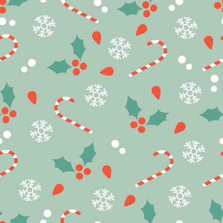 hollies: Chritsmas seamless pattern with candy canes and hollies