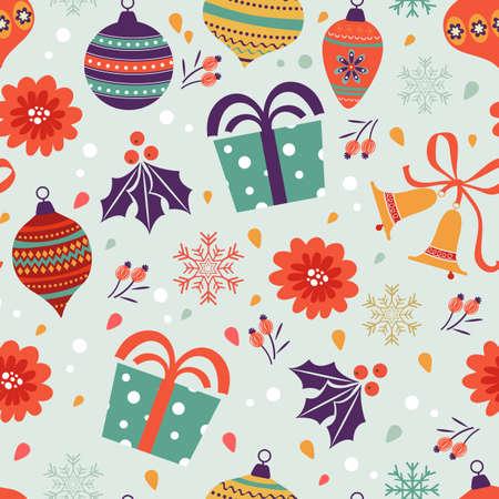 christmas element: Christmas background with balls bells flowers. Vector illustration Illustration