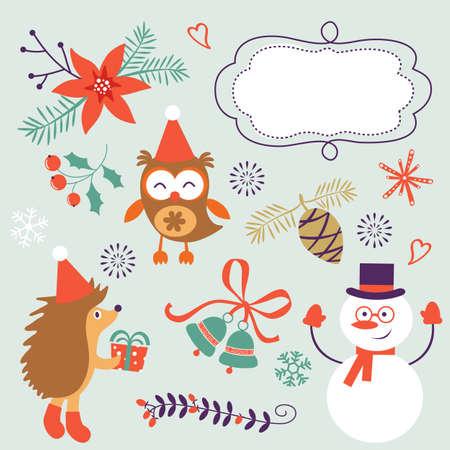 cartoon hedgehog: Cute Christmas decorative elements and icons. Vector illustration