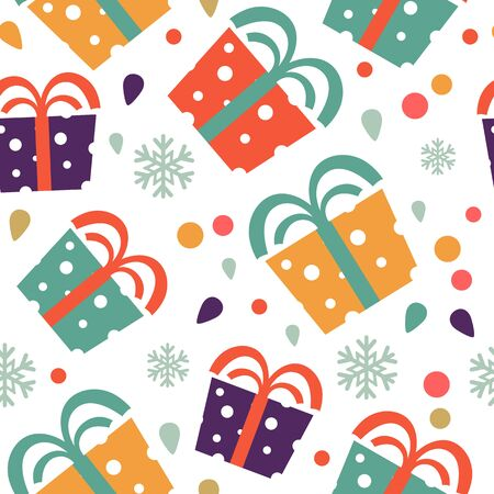christmas seamless pattern: Christmas seamless pattern with colorful gift boxes. Vector illustration