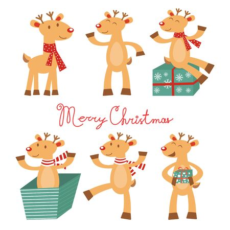 reindeer  animal: Merry and Christmas card with cute reindeers. Vector illustration
