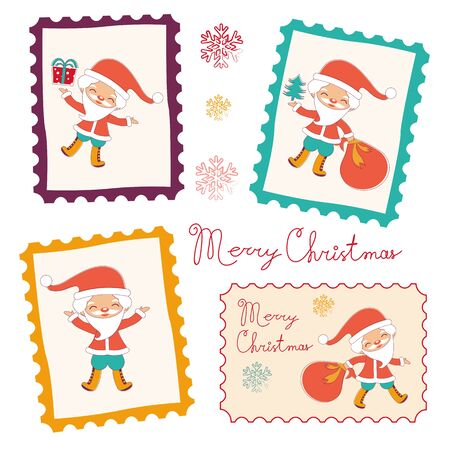 illustration collection: Colorful vintage Christmas stamps collection. Vector illustration