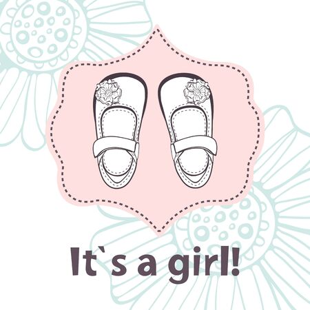 it s a girl: It s a girl. Lovely baby shower card with cute baby girl shoes. Vector illustration