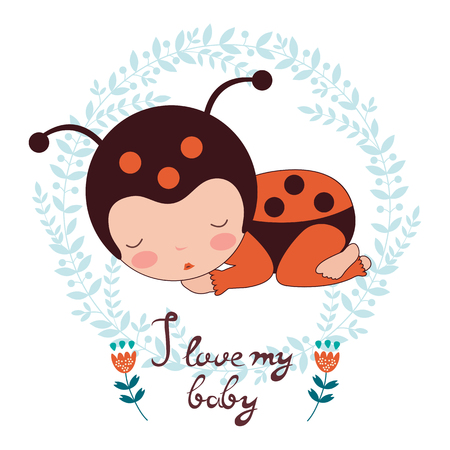baby love: I love my baby card. Illustration of adorable baby ladybug sleeping. Illustration in vector format