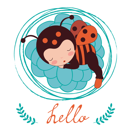 baby sleeping: A beautiful ladybug baby card. Vector illustration Illustration