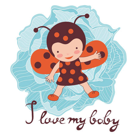 ladybug: I love my baby card. Illustration of adorable baby ladybug. Illustration in vector format