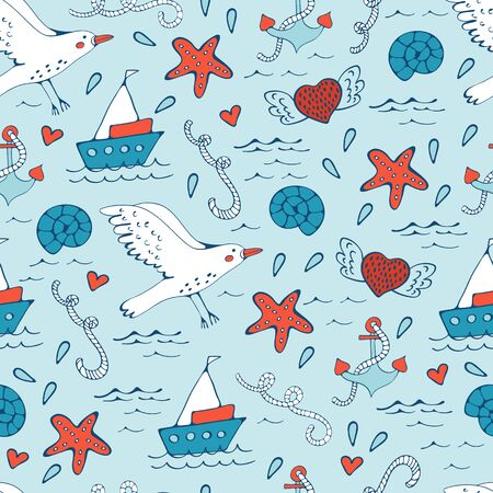 seagulls: Colorful seamless sea pattern with seagulls shells fishes and boats. Vector illustration Illustration