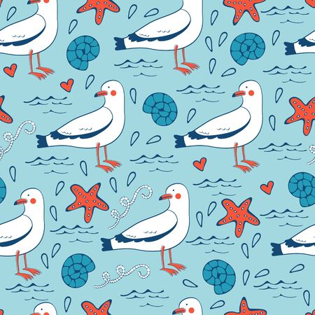 seagulls: Colorful seamless sea pattern with seagulls shells and starfishes. Vector illustration