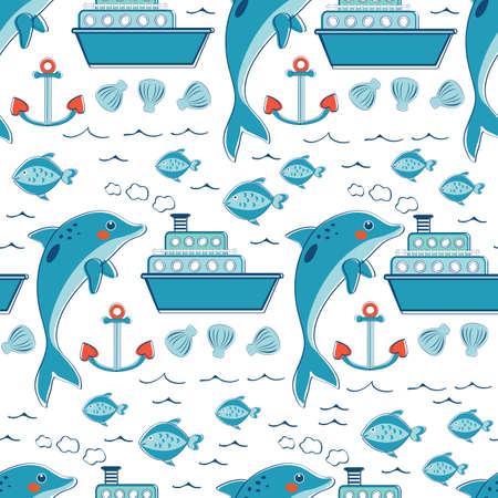 oiseau dessin: modèle de la mer transparente colorée avec les dauphins et les poissons ancres des navires. Vector illustration Illustration