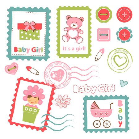 baby girl: Colorful collection of baby girl announcement postal stamps. vector illustration Illustration