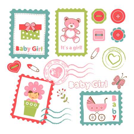 baby clothing: Colorful collection of baby girl announcement postal stamps. vector illustration Illustration
