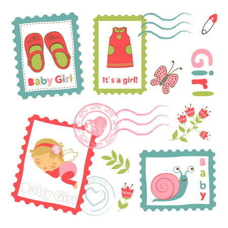 announcement: Colorful collection of baby girl announcement postal stamps. vector illustration Illustration