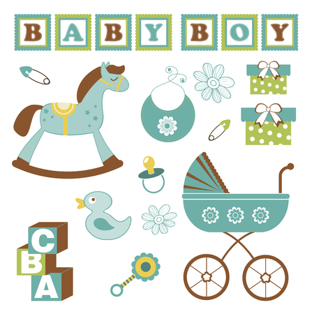Colorful collection of baby boy announcement graphic elements. vector illustration Illustration