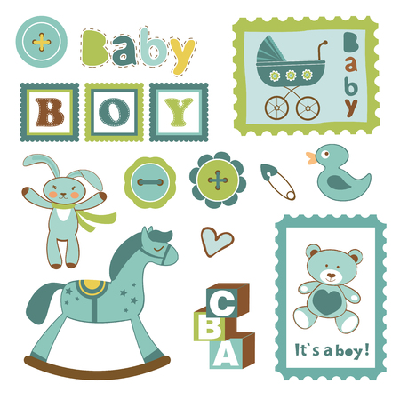 baby boy announcement: Colorful collection of baby boy announcement postal stamps. vector illustration