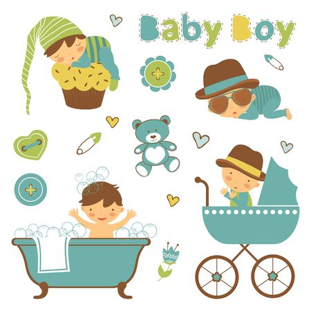 baby boy: Colorful collection of baby boy announcement graphic elements. vector illustration Vectores