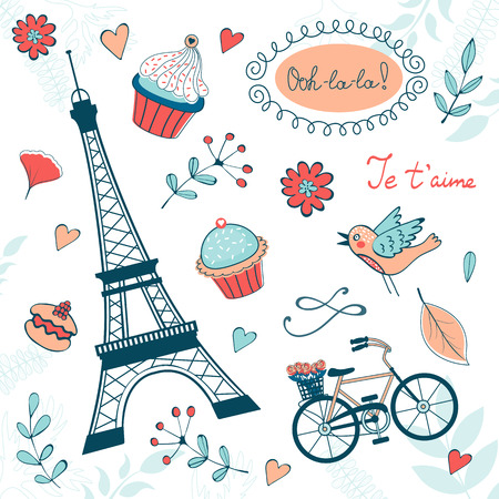 points of interest: Beautiful collection of paris related graphic elements. Illustration in vector format