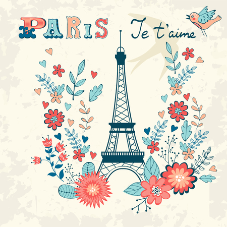 scrapbook background: Concept love card with Eiffel tower and floral wreath. Vector illustration