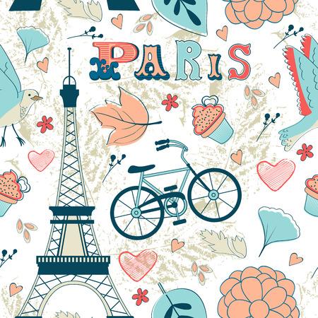 パリのシームレスなパターン。ベクトル形式でカラフルなイラスト