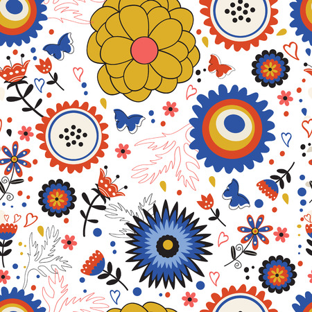 blooming: Colorful blooming flowers seamless pattern. Illustration in vector format