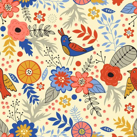 blooming: Colorful seamless pattern with birds and blooming flowers. Vector illustration