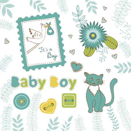 lments graphiques: Colorful collection of baby boy announcement graphic elements. vector illustration Illustration