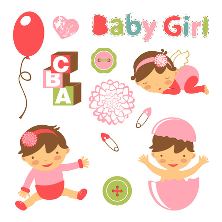 baby girl: Colorful collection of baby girl announcement graphic elements. vector illustration Illustration