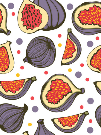 purple fig: Colorful seamless pattern with figs. Illustration in vector format