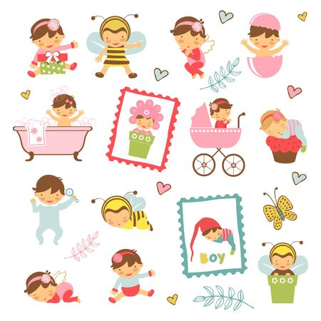 baby girl arrival: Colorful collection of adorable babies. Illustration in vector format Illustration