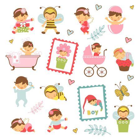 angeles bebe: colorida colección de adorables bebés. Ilustración en formato vectorial
