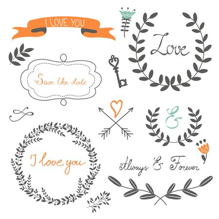 Romantic collection with flowers, wreaths and other graphic elements. Retro style floral wreaths. Vector illustration