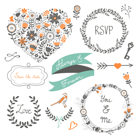 floral elements: Romantic collection with flowers, wreaths and other graphic elements. Retro style floral wreaths. Vector illustration