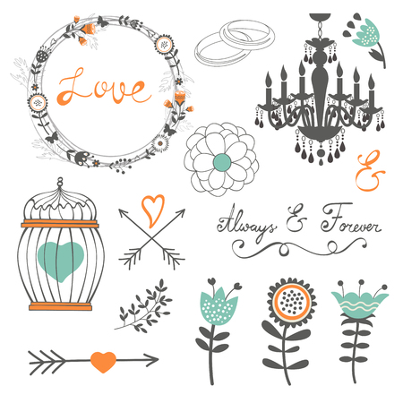 retro floral: Romantic collection with flowers, wreaths and other graphic elements. Retro style floral wreaths. Vector illustration