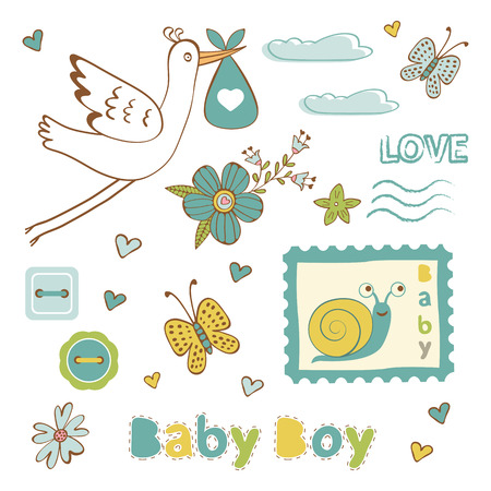 baby boy announcement: Colorful collection of baby boy announcement graphic elements. vector illustration Illustration