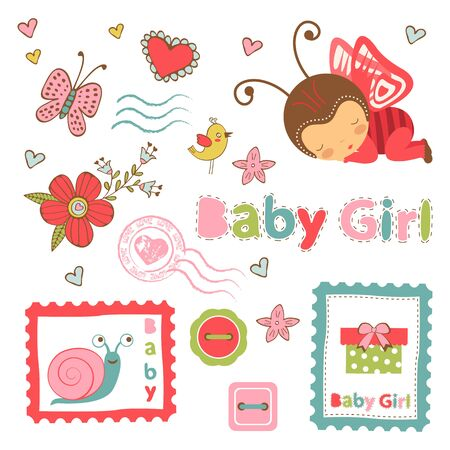 angel girl: Colorful collection of baby girl announcement graphic elements. vector illustration Illustration