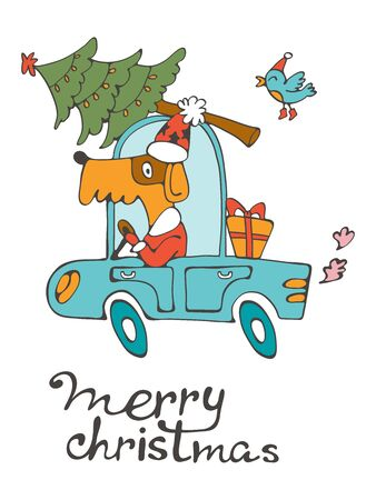christamas: Merry Christmas. Amazing card with cute dog in Santas costume driving with Christmas tree.