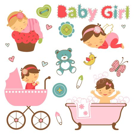 baby girl: Colorful collection of baby girl announcement graphic elements.