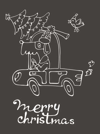 christamas: Merry Christmas. Amazing card with cute dog in Santa costume driving with Christmas tree.