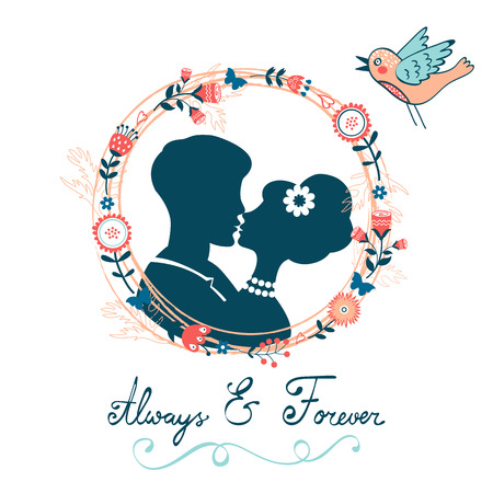 always: Love concept card. Always and forever kissing couple in floral wreath. Vector illustration